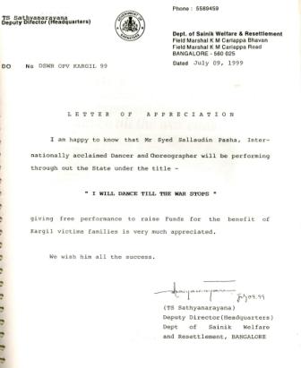 14 Syed Sallauddin Pasha receiving letter for Kargil fund raising from sainik welfare